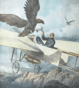 Eugene Gilbert in Bleriot XI attacked by an eagle in 1911