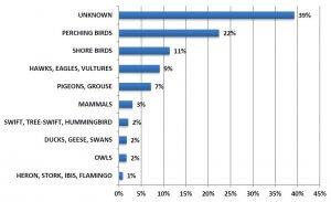 Bird strike statistics (ICAO) showing type of bird involved